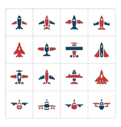 Set color icons of planes vector image