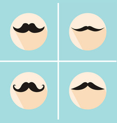 set of hipster mustache with long flat shadow vector image vector image