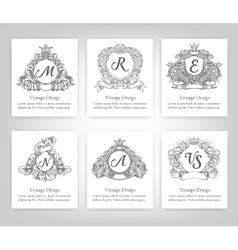 set of vintage emblems monograms vector image