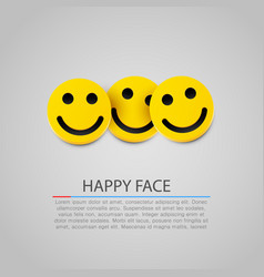 modern yellow laughing three smiles vector image