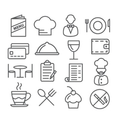Restaurant Line Icons vector image vector image