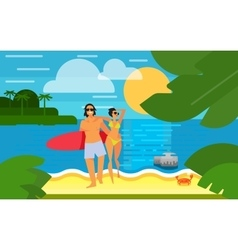Seascape with Young Happy Couple vector image vector image