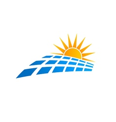 Sun solar panel logo vector image vector image