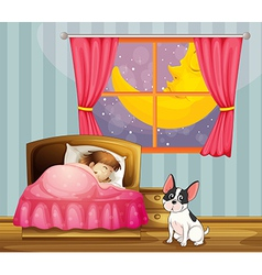 A girl sleeping in her room with a dog vector image vector image