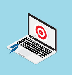 arrow hit on target with laptop vector image vector image