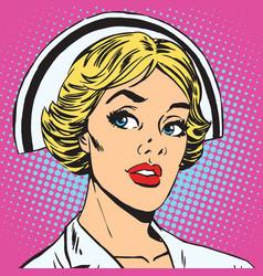 avatar portrait of a retro nurse vector image vector image