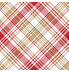 Beige red white check diagonal plaid seamless vector
