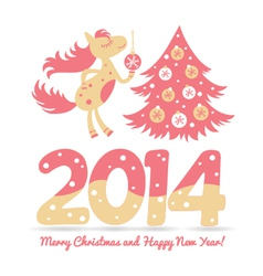 Christmas horse decorates the Christmas tree vector image vector image