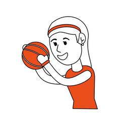 Girl doing basketball sport vector