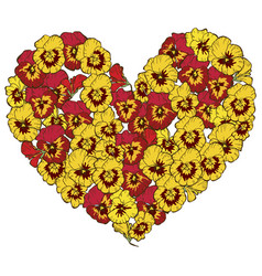 Heart of red and yellow flowers isolated on white vector
