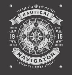 nautical navigator typography on black background vector image vector image