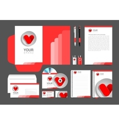 red corporate identity template design hearts vector image vector image