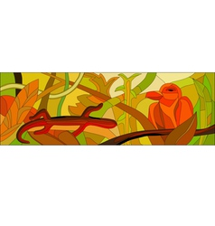 Stained glass with wild nature vector