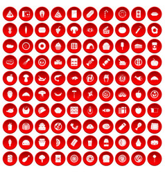 100 meal icons set red vector