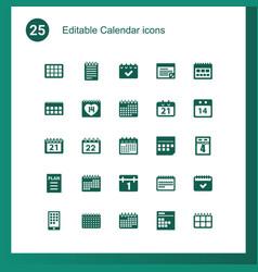 25 calendar icons vector