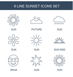 9 sunset icons vector image