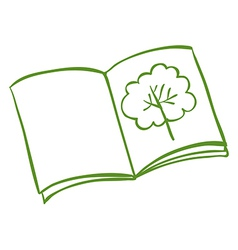 A book with a drawing of a tree vector image