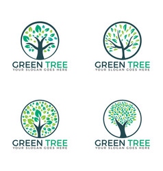 Abstract green trees set logo designs vector