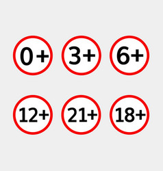 age limit icons set vector image