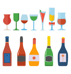 Alcohol bottle and glasses set vector