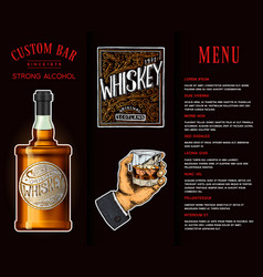 Alcohol drink in a bottle banner or brochure with vector