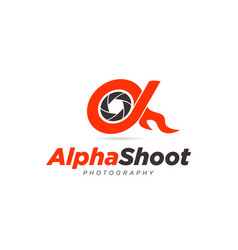 alpha shoot photography logo symbol icon vector image