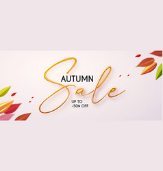autumn sale with 3d realistic text season offer vector image