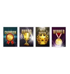 Awards vertical posters set vector