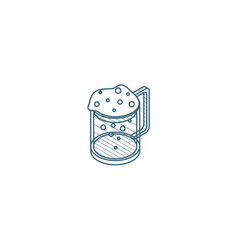 beer glass whit foam isometric icon 3d line art vector image