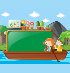 Border design with kids on boat vector