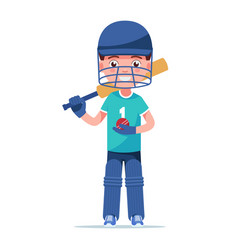 boy cricket player standing with a bat vector image