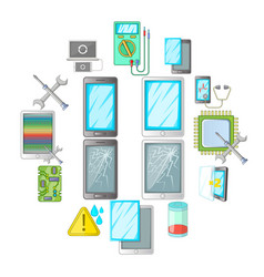 broken phones fix icons set cartoon style vector image