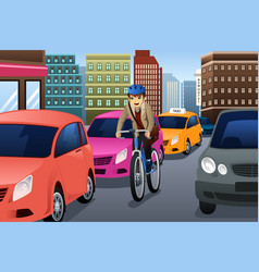 businessman biking in the city vector image