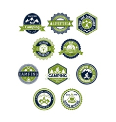 Camping and travel icons or badges vector image