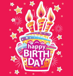 card with birthday cake and candles birthday vector image