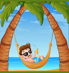 cartoon little boy relaxing on hammock beach with vector image
