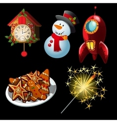 Cartoon set of holiday symbols and entertainment vector image