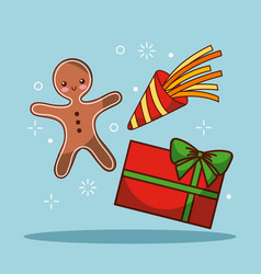 christmas gingerman gift box celebration festive vector image