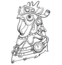 Cock head steampunk style symbol of time coloring vector