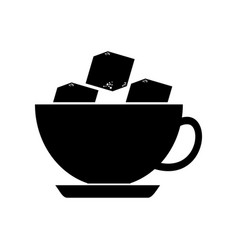 coffee cup with sugar cubes vector image