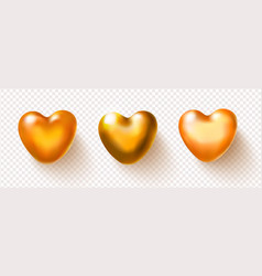 collection golden 3d hearts isolated on vector image