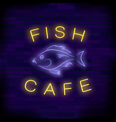 colorful neon fish cafe sign vector image