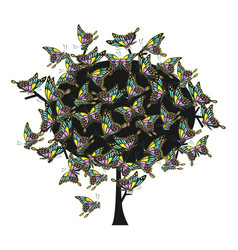 colorful tree with lace butterflies vector image