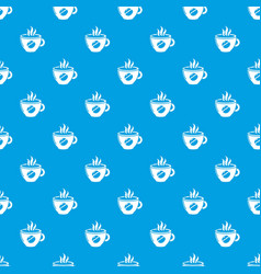 cup coffee pattern seamless blue vector image