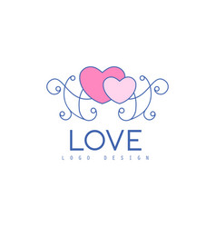 cute line logo design with hearts and patterns vector image