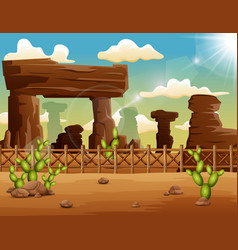 Desert landscape background with rocks and cactus vector