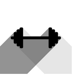 Dumbbell weights sign black icon with two vector