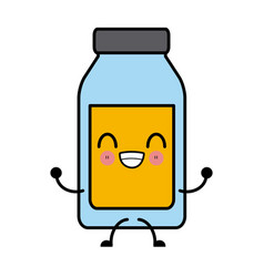 empty glass bottle kawaii cartoon vector image