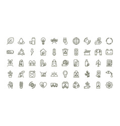 Environment ecology icons collection line vector