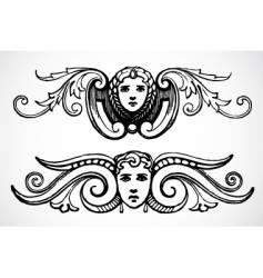 Female header ornaments vector